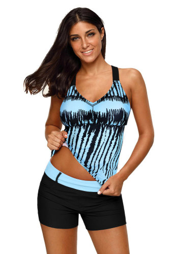Sky Blue Stripes Strappy Back Tankini Top LC410458-104