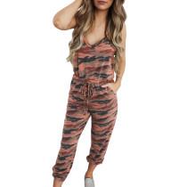 Khaki Camo Jumpsuit with Pockets TQK550127-21