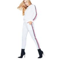 White Side Striped Sweatshirt with Pant Set TQS710019-1