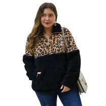 Leopard Print Splice Black Zip Collar Plus Size Sweatshirt TQK230102-2