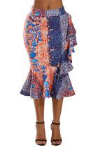 Blue Orange African Print Ruffle Trim Bodycon Skirt