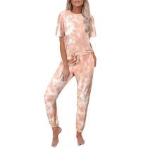 Orange Tie Dye Short Sleeve Home Wear Set TQK710034-14
