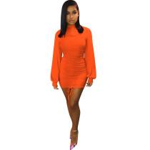 Orange Long Lantern Sleeve Bodycon Dress TQS320013-14