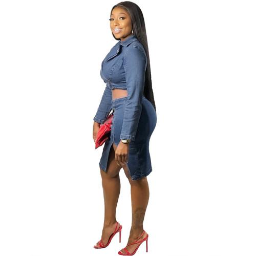 Blue V Neck Crop Top with Denim Skirt Set TQS710024-5