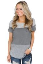 Gray Contrast color T-shirt