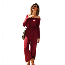 Wine Red Back Zip Drop Shoulder Jumpsuit with Pocket