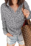 Gray Leopard Zipped Collar Sweatshirt LC253327-11