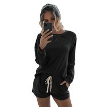 Black Long Sleeve Shorts Set TQK710054-2