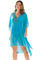 Rhinestone V Neck Blue Sheer Kimono Beach Cover Up Dress