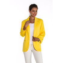 Yellow 3/4 Sleeve Fashion Lady Suit TQD260025-7