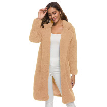 Brown Turndown Collar Long Furry Coat TQK280041-17