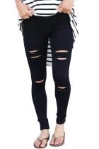 Black Distressed Front Stretch Denim Pants
