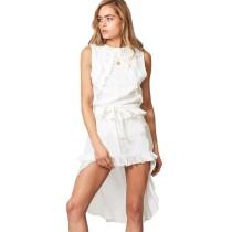 White Tie Waist Irregukar Casual Dress