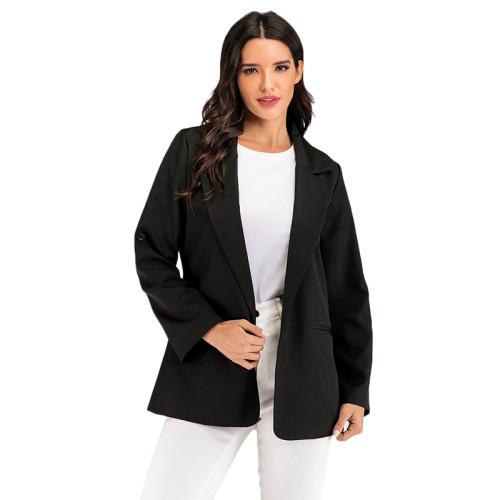 Solid Black Loose Style Casual Blazer TQK260035-2