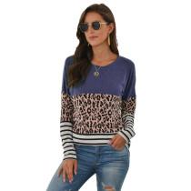 Blue Striped Splice Leopard Long Sleeve Tops TQK210425-5