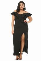 Black Plus Size Open Shoulder Ruffle Dress