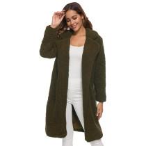 Army Green Turndown Collar Long Furry Coat TQK280041-27