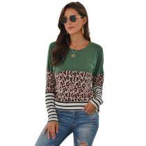 Green Striped Splice Leopard Long Sleeve Tops TQK210425-9