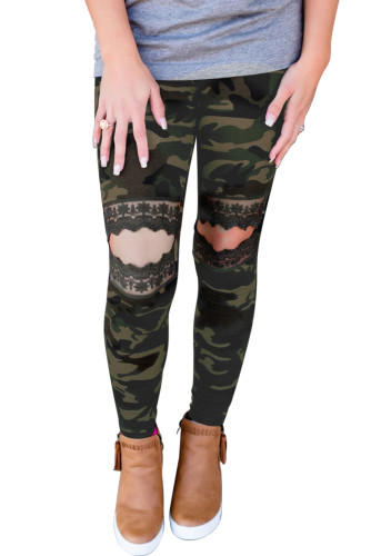 Floral Hollow Out Camo Printed Skinny Leggings LC790100-9