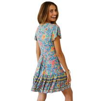 Green Floral Print V Neck Tie Waist Boho Dress TQK310050-9