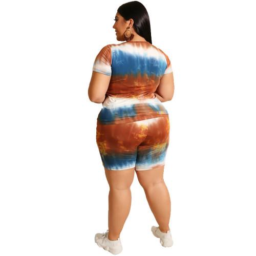 Orange Tie Dye Plus Size Pajama Set TQK710061-14