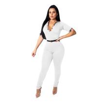 White Plaid Neck Short Sleeve Jumpsuit