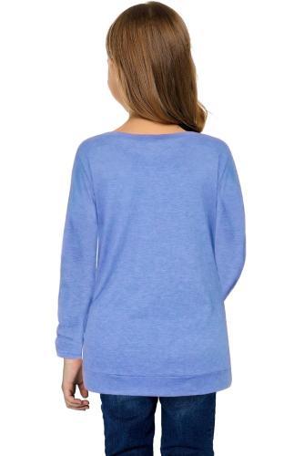 Sky Blue Little Girls Long Sleeve Buttoned Side Top TZ25122-4