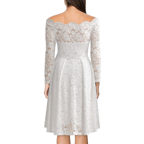 White Scalloped Off Shoulder Long Flared Sleeve Lace Dress TQS350022-1