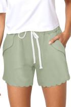 Green Casual Drawstring Pocket Shorts LC77323-9