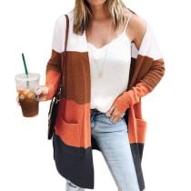 Coffee Colorblock Fashion Cardigan with Pockets TQK271087-15