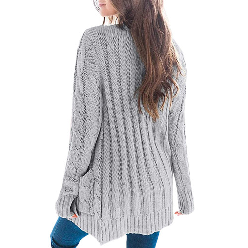 Light Gray Button Down Pocketed Knit Cardigan TQK271080-25