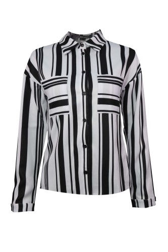 Black White Color Block Long Sleeve Blouse