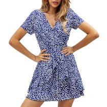 Blue Polka Dot Ruffles Hem Mini Dress TQK310127-5