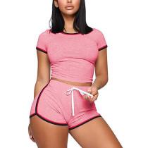 Pink Splice Tight Tops and Shorts  Set TQK710045-10
