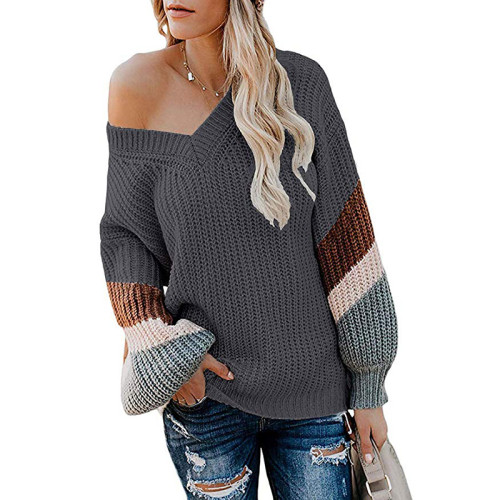 Dark Gray V Neck Loose Knit Sweater TQK270019-26