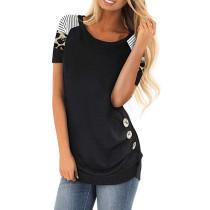 Black Contrast Leopard Button Detail T Shirt TQK210334-2