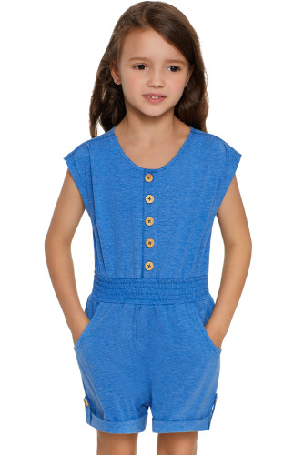 Sky Blue Little Girls Cassie Romper TZ64010-4