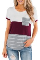 Red Right Here With Me Color Block Top LC253077-3