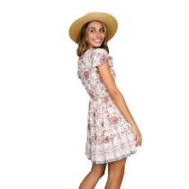 Apricot V Neck Floral Print Boho Dress TQK310091-18