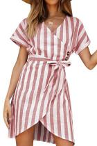 Pink V Collar Short Sleeve Stripe Print Button Wrap Dress