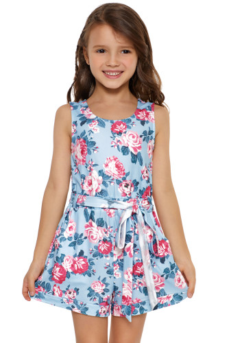 Sky Blue Floral Romper for Little Girls TZ64016-4