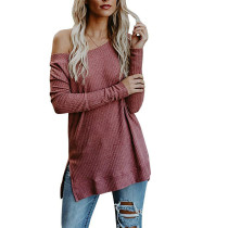 Red Off Shoulder Knit Sweater