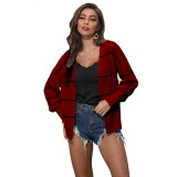 Wine Red Striped Long Sleeve Cardigan TQK271084-103