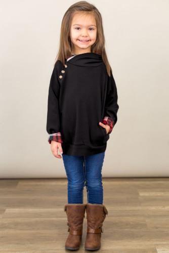 Black Toddlers Double Hooded Sweatshirt TZ25110-2