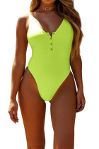 Neon Green Snap Button Front Sunbathing Swimsuit LC411769-9