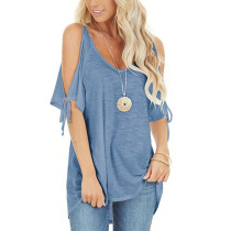 Light Blue Cold Shoulder Lace-up Short Sleeve Tees TQK210269-30