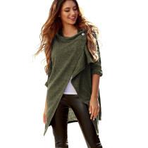 Army Green Button Neck Knit Autumn Cardigan TQK280025-27
