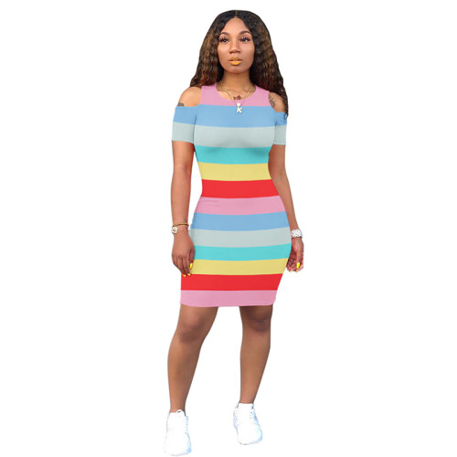 Blue Yellow Striped Cold Shoulder Bodycon Dress TQS310079-7