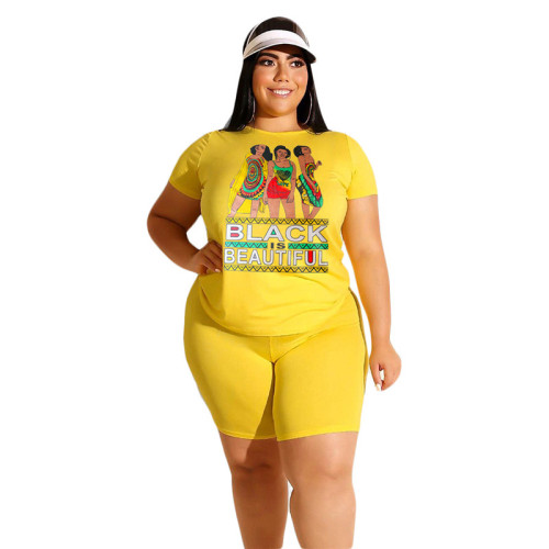 Yellow BLACK BEAUTIFUL Print Plus Size Shorts Set TQK710098-7