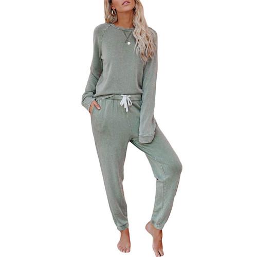 Light Green Long Sleeve Home Wear Joggers Set TQK710033-28
